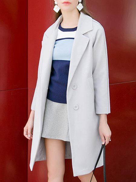 Gray Cat Printed Elegant Lapel Color Block Long Sleeve Coat