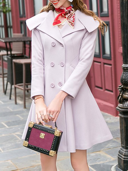 Pink Simple Wool Blend Coat