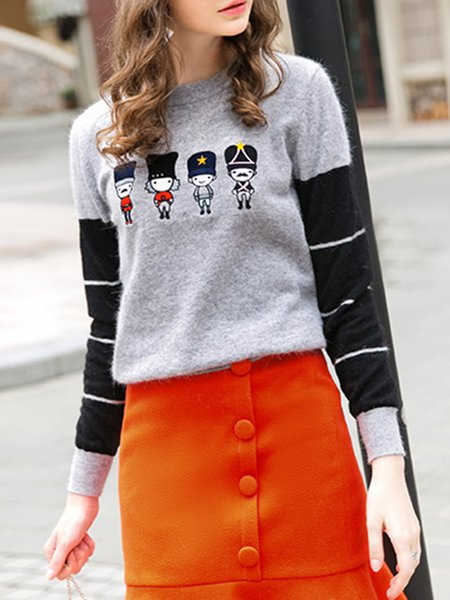 Gray H-line Color-block Embroidered Knitted Casual Sweater