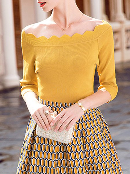 Yellow H-line 3/4 Sleeve Knitted Off Shoulder Sweater