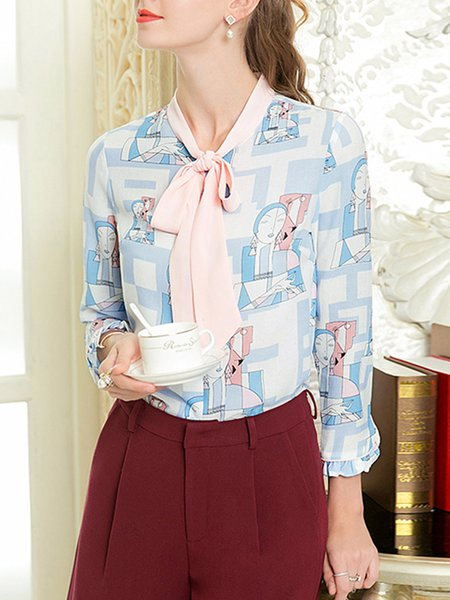 Light Blue Bow Printed Abstract Frill Sleeve H-line Blouse