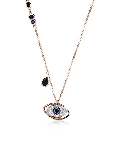 Rose Gold 925 Sterling Silver Blue Eye of God Necklace