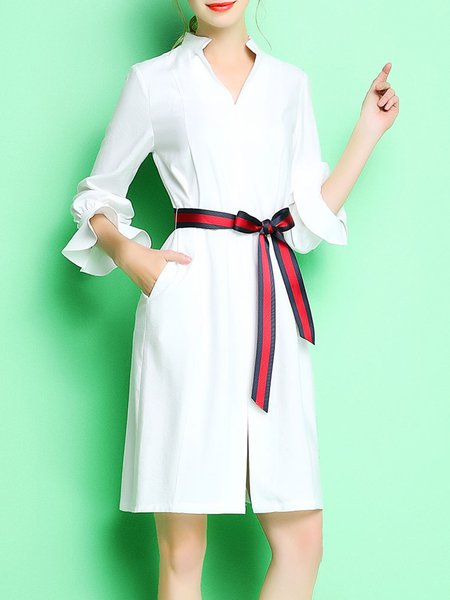 Pockets Simple Solid A-line 3/4 Sleeve Mini Dress with Belt