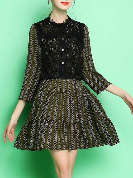 A-line Geometric Print Lace Chiffon Mini Dress
