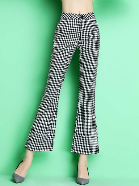 Black Simple Checkered/Plaid Flared Pants