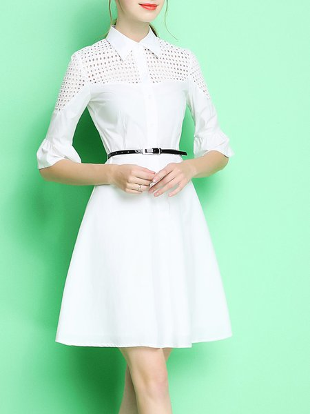 Pierced Solid Half Sleeve A-line Midi Dress