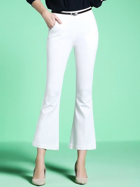 Pockets Simple A-line Flared Pants