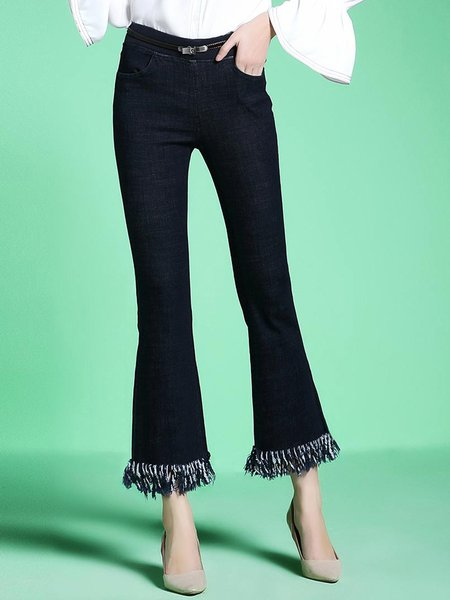 Blue Denim Fringed Casual Flared Pants