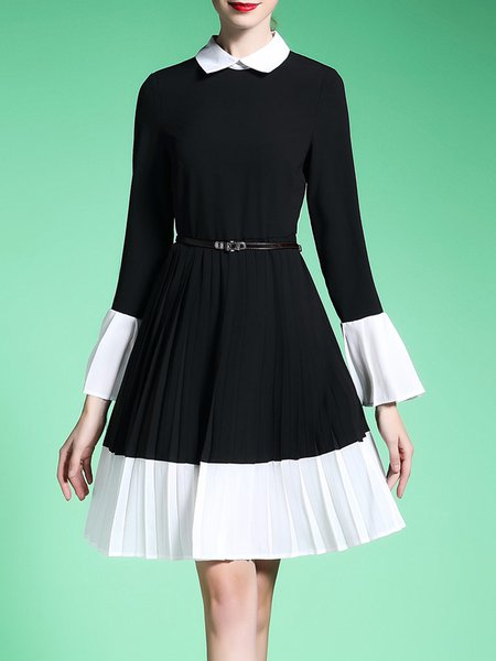 Peter Pan Collar Casual Frill Sleeve Color-block Midi Dress