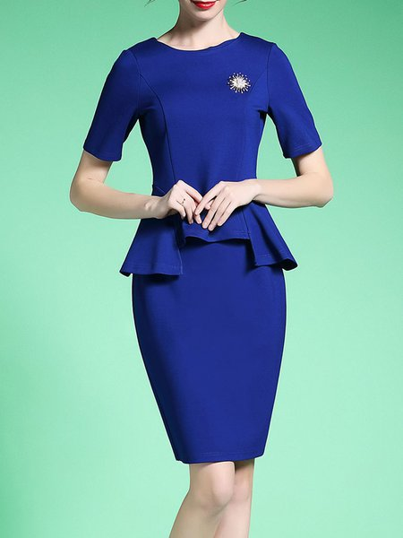 Elegant Two Piece Ruffled Short Sleeve Work Dress