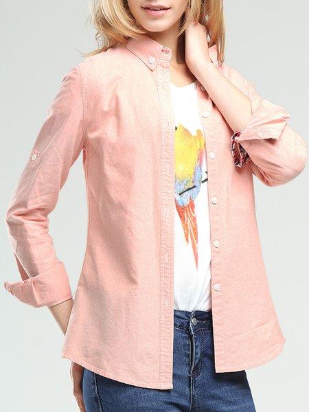 Long Sleeve Shirt Collar Cotton Casual Blouse