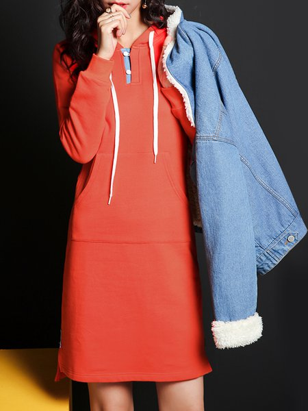 Casual Pockets Long Sleeve Plain Midi Dress