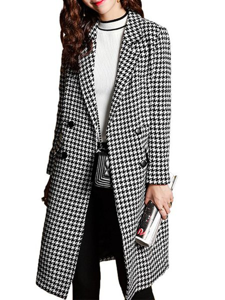 Black A-line Houndstooth Long Sleeve Printed Coat