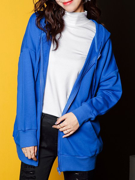 Blue Cotton Pockets Printed Casual Long Sleeve Coat