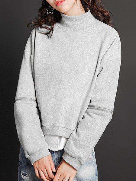 Light Gray Cotton-blend Turtleneck Long Sleeve Plain Sweatshirt