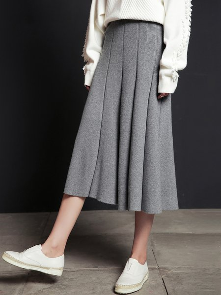 Gray Folds Simple Ribbed Plain A-line Midi Skirt