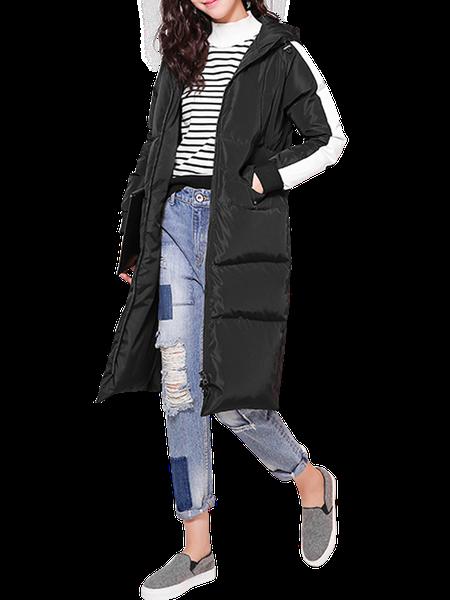 Black Long Sleeve H-line Hoodie Printed Hooded Pockets Down Coat