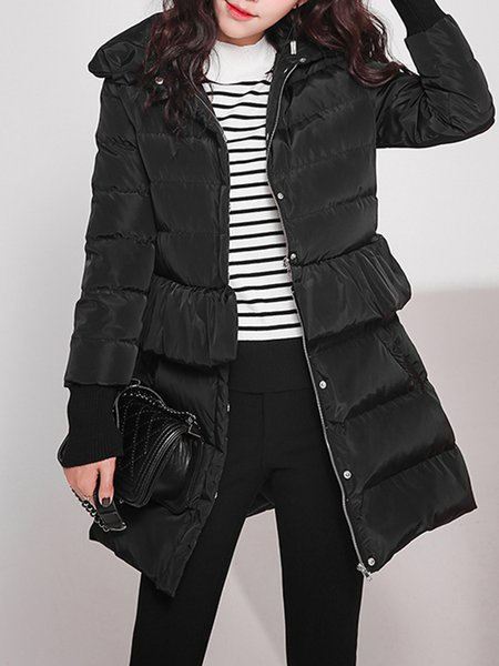Black Pockets Casual Plain Ruffled  Down Coat