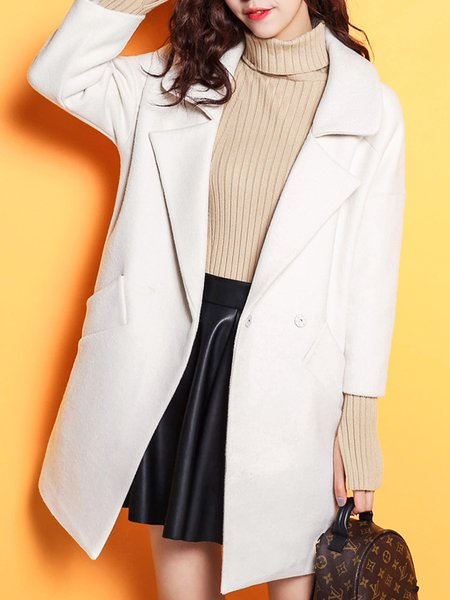 White Simple H-line Plain Wool-blend Pockets Coat