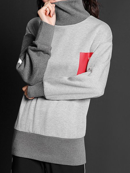 Casual Turtleneck Long Sleeve Color-block Sweatshirt