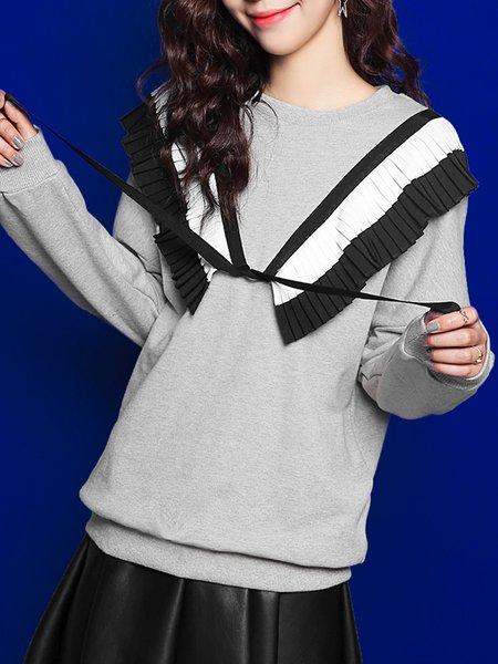 Gray Crew Neck Cotton Long Sleeve Plain Casual Sweatshirt