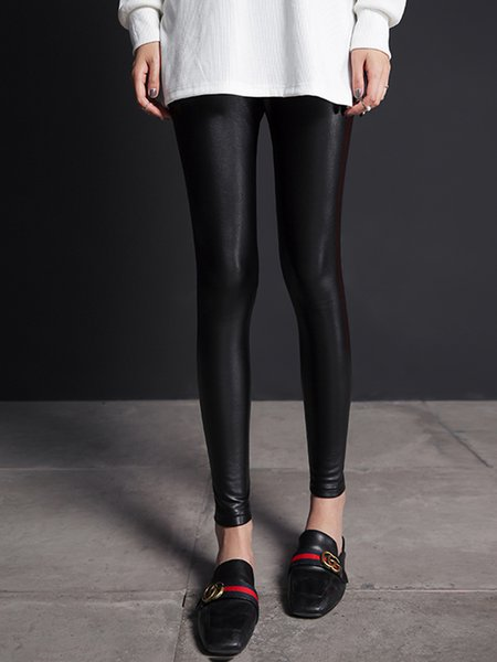Black Casual Solid Sheath Leggings