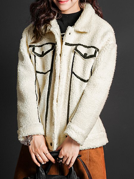 Beige Long Sleeve Polyester Coat with Pockets