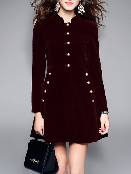 Cotton-blend Long Sleeve A-line Solid Midi Dress