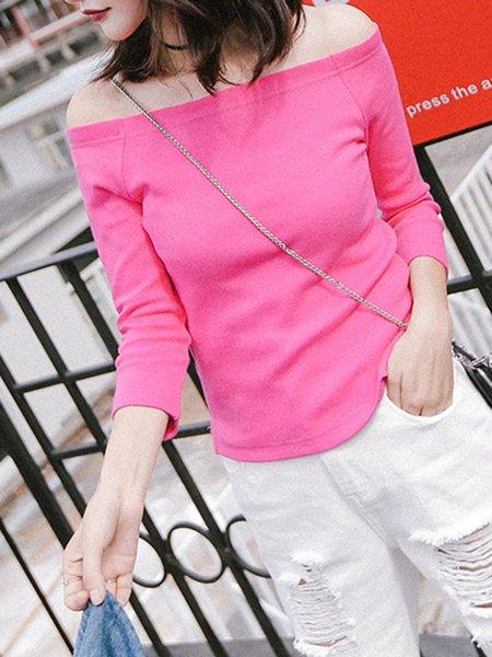 Pink 3/4 Sleeve Off Shoulder Solid Top