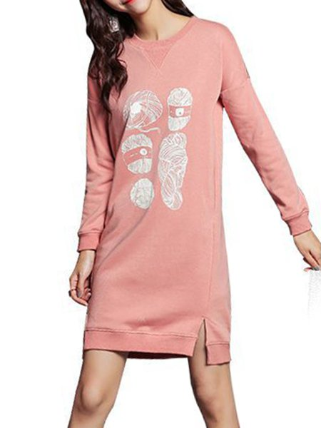 Pink Long Sleeve Crew Neck Printed Sweater Dress