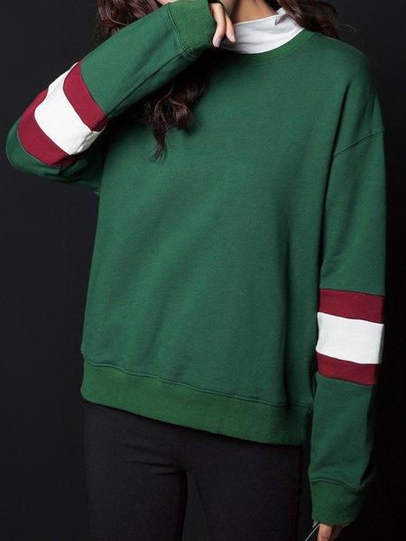 Dark Green Long Sleeve H-line Cotton Crew Neck Sweatshirt