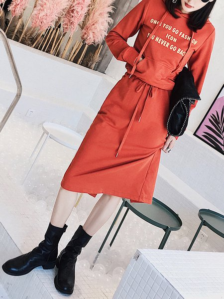 Orange Long Sleeve Spandex Printed Hoodie Midi Dress