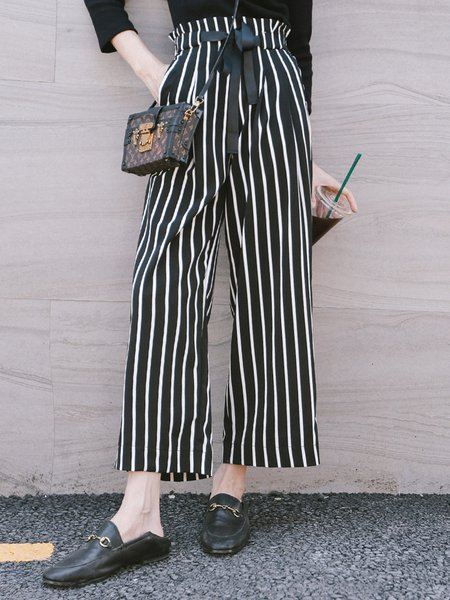 Black-white Printed Stripes Work Wide Leg Pants