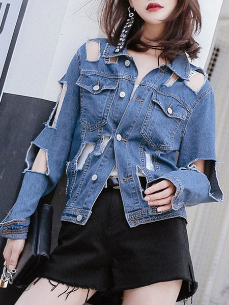 Blue Long Sleeve Cotton H-line Shirt Collar Cropped Jacket