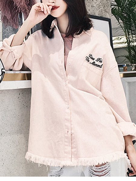 Pink Cotton Casual H-line Blouse