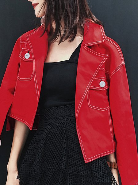 Red H-line Solid Asymmetric Casual Cropped Jacket