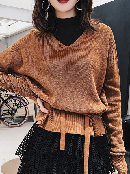 Coffee H-line Casual Cotton Sweater