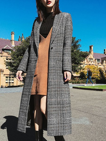 Casual Lapel Long Sleeve Checkered/Plaid H-line Coat