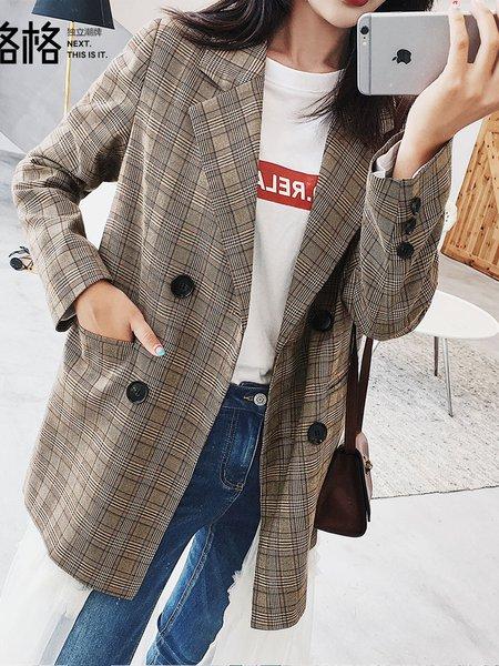 Khaki Checkered/Plaid Lapel Long Sleeve Blazer
