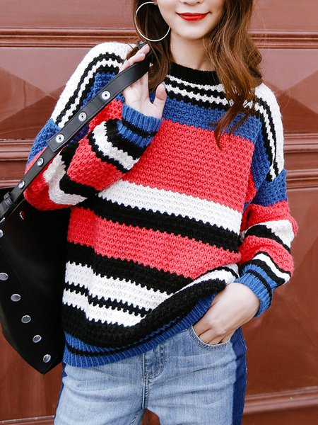 Color-block Long Sleeve Stripes Stand Collar Sweater