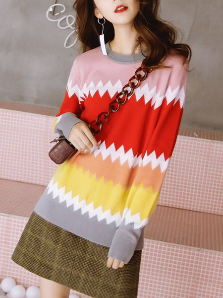 Multicolor Zigzag Casual Stand Collar Sweater