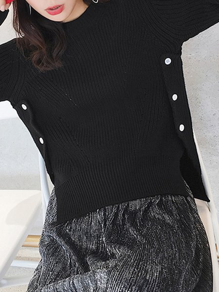 Long Sleeve Casual High Low Crew Neck Sweater