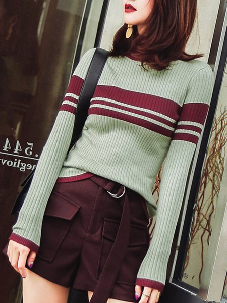 Green Turtle Neck Color-block Long Sleeve Sweater