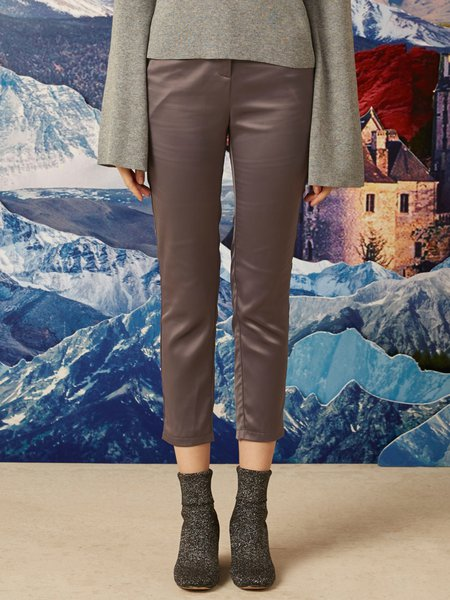Silver Grey Casual Polyester Plain Skinny Leg Pants