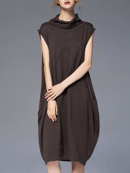 Sleeveless Cowl Neck Solid Sweater Dress