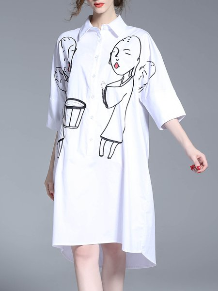 White Cotton High Low Embroidered Shirt Collar 3/4 Sleeve Shirt Dress
