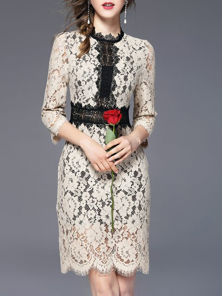 Apricot Elegant Guipure Lace Stand Collar Midi Dress