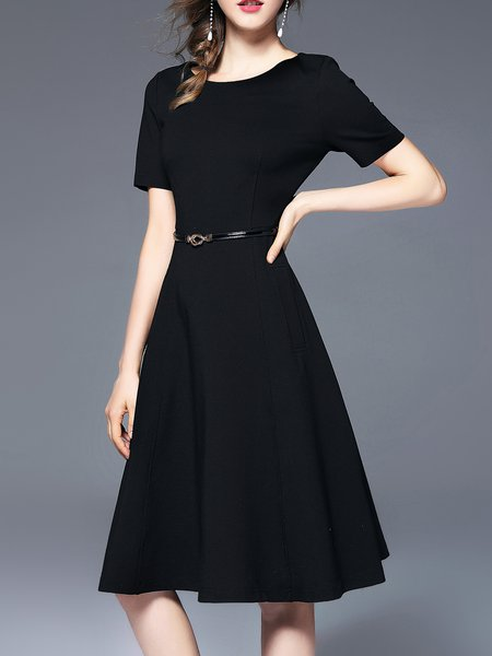Solid Crew Neck Short Sleeve Elegant Midi Dress With Belt