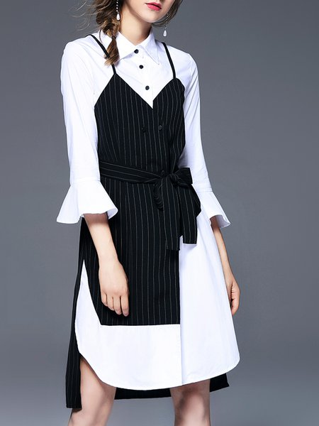 White Midi Dress Shift Daytime Casual Paneled Dress