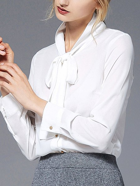 White Solid Long Sleeve Blouse